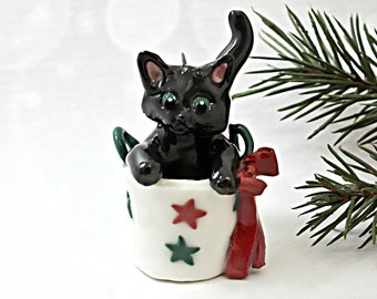 Black Cat PORCELAIN Ornament Figurine Christmas Bag