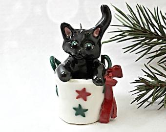 Black Cat PORCELAIN Ornament Figurine Christmas Bag