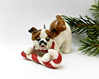 Bulldog Red White Christmas Ornament Figurine Candy Cane Porcelain
