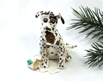 Dalmatian Liver PORCELAIN Christmas Ornament Figurine Santa's Milk Cookie