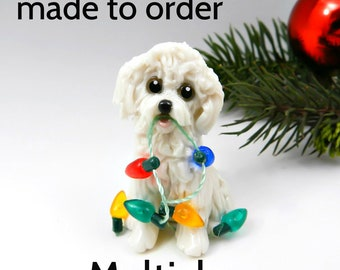 Maltichon Dog Made to Order Christmas Ornament Figurine in Porcelain