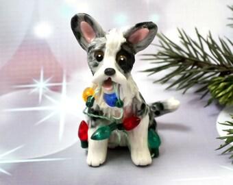 Cardigan Welsh Corgi Dog Porcelain Christmas Ornament Figurine Lights