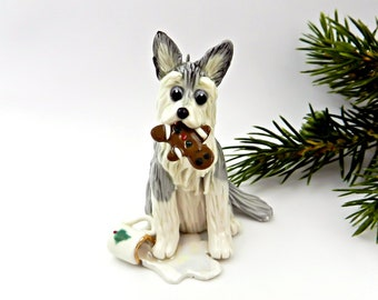 Siberian Husky PORCELAIN Christmas Ornament Figurine Santa's Milk Cookie
