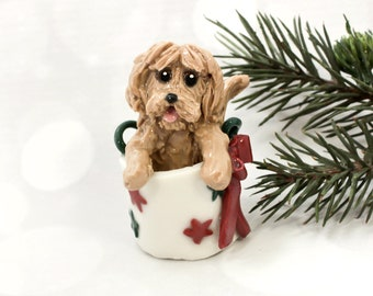 Labra Doodle Golden Doodle PORCELAIN Ornament Figurine in Christmas Bag