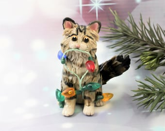 Maine Coon Norwegian Forest Cat Christmas Ornament Figurine Lights Porcelain