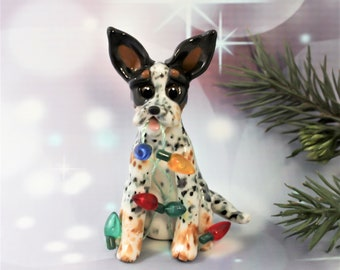 Australian Cattle Dog PORCELAIN Christmas Ornament Figurine Clay OOAK