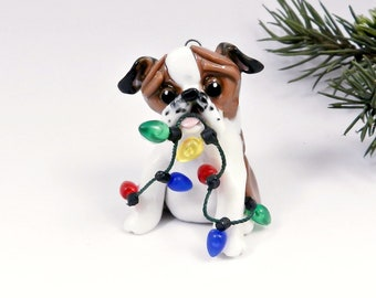 Bulldog Red White Christmas Ornament Figurine Lights Porcelain Clearance