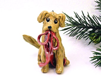 Golden Retriever PORCELAIN Christmas Ornament Figurine Red Ribbon
