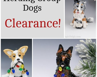 Herding Group Dogs Christmas Ornaments Figurine Porcelain Clearance