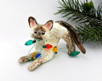 Devon Rex Sealpoint Cat PORCELAIN Christmas Ornament Figurine