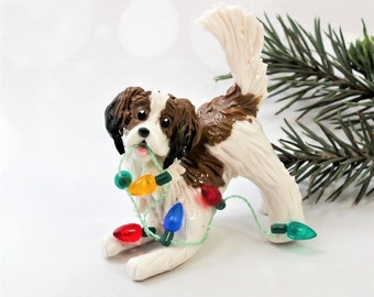 Kooikerhondje Porcelain Christmas Ornament Figurine with Lights OOAK