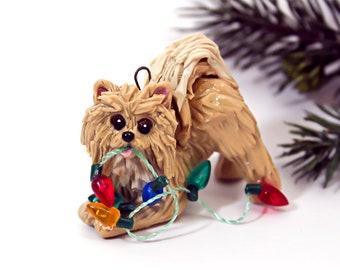 Pomeranian Cream Porcelain Christmas Ornament Figurine Lights