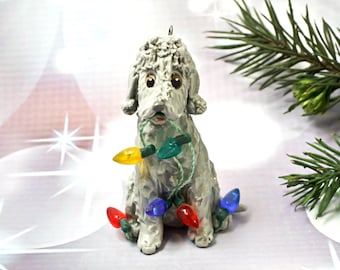 Bedlington Terrier Blue PORCELAIN Christmas Ornament Figurine Lights OOAK