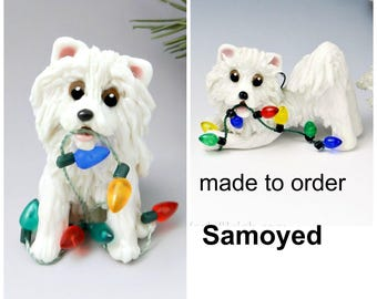 Samoyed Porcelain Christmas Ornament Figurine Made to Order