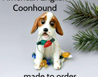 American English Coonhound Redtick Coonhound PORCELAIN Christmas Ornament