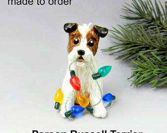 Parson Russell Terrier PORCELAIN Christmas Ornament Figurine Made to Order