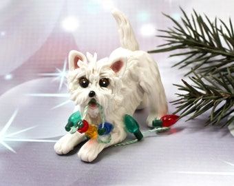 Westie West Highland White Terrier Porcelain Christmas Ornament Figurine OOAK Lights