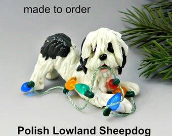 Polish Lowland Sheepdog Porcelain Christmas Ornament Figurine Made to Order