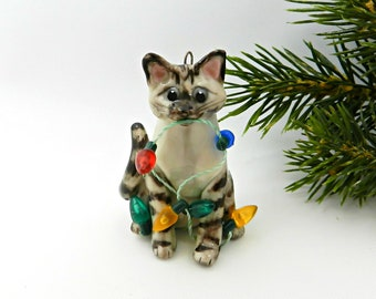 Siamese Brown Lynx Point Cat Porcelain Christmas Ornament Figurine