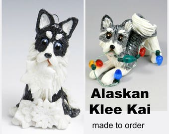 Alaskan Klee Kai Dog PORCELAIN Christmas Ornament Figurine Made to Order