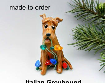 Italian Greyhound Dog Made to Order Christmas Ornament Figurine in Porcelain