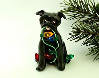Pug Black PORCELAIN Christmas Ornament Figurine Lights OOAK