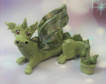 Dragon Green Figurine Porcelain Clearance