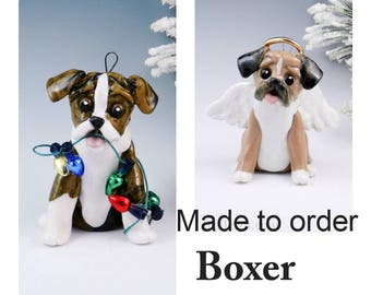 Boxer Dog Made to Order Christmas Ornament Figurine in Porcelain