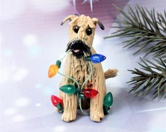 Soft Coated Wheaten Terrier Porcelain Christmas Ornament Lights