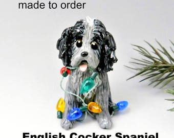 English Cocker Spaniel PORCELAIN Christmas Ornament Figurine Made to Order