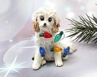 MaltiPoo Dog White Apricot Porcelain Christmas Ornament Figurine Lights