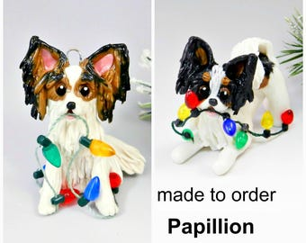 Papillon PORCELAIN Christmas Ornament Figurine Made to Order