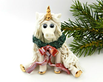 Unicorn PORCELAIN Christmas Ornament Figurine Wreath