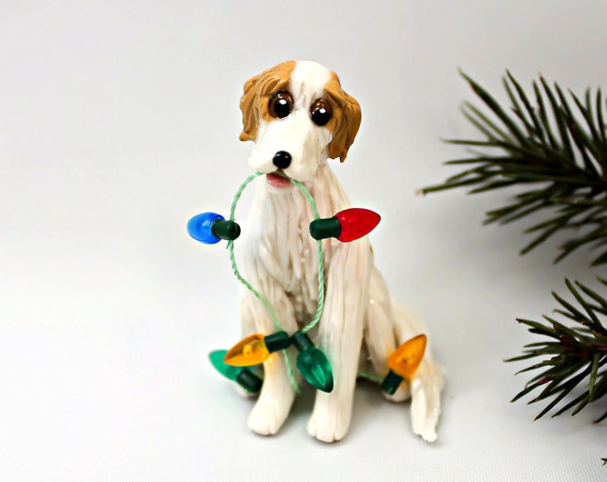 Featured listing image: Borzoi Christmas Ornament Figurine Lights Handmade Porcelain