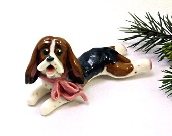 Basset Hound Tricolor Porcelain Christmas Ornament Figurine with Pink Bow