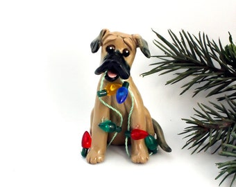 Great Dane Fawn Porcelain Ornament Christmas Figurine OOAK