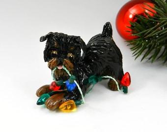 Brussels Griffon Black and Tan Christmas Ornament Figurine Lights Porcelain