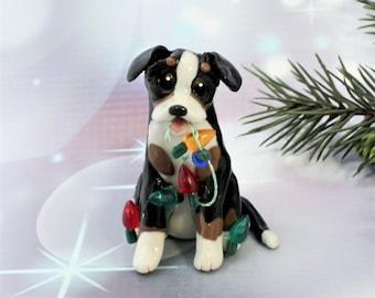 Greater Swiss Mountain Dog PORCELAIN Christmas Ornament Figurine Lights