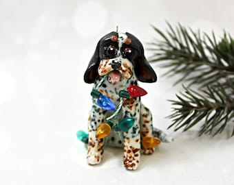 BlueTick Coonhound Dog PORCELAIN Christmas Ornament Figurine with Lights