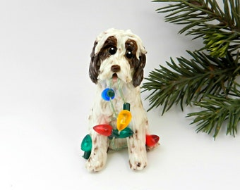 Spinone Italiano Porcelain Christmas Ornament Figurine Lights Brown Roan