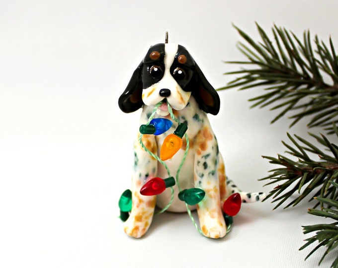Featured listing image: BlueTick Coonhound PORCELAIN Christmas Ornament Figurine with Lights