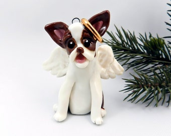 Boston Terrier Angel Christmas Ornament Brown Porcelain Clearance