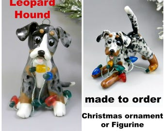 Catahoula Leopard Hound  Made to Order Christmas Ornament Figurine Porcelain
