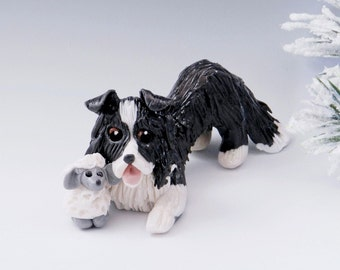 Shetland Sheepdog Collie Christmas Ornament Figurine Sheep Porcelain Clearance