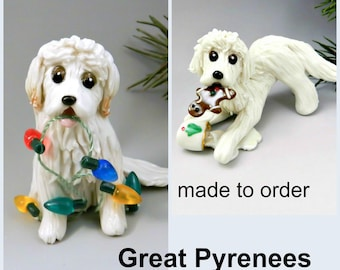 Great Pyrenees Dog PORCELAIN Christmas Ornament Figurine Made to Order