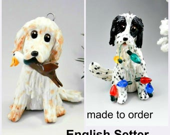 English Setter PORCELAIN Christmas Ornament Figurine Made to Order