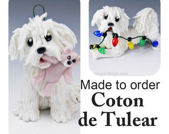 Coton de Tulear Dog Made to Order Christmas Ornament Figurine in Porcelain