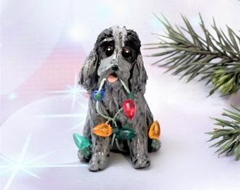 English Cocker Spaniel Blue Roan PORCELAIN Christmas Ornament Figurine Clay