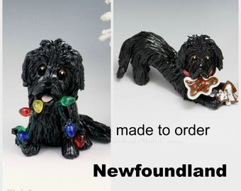 Newfoundland Porcelain Christmas Ornament Figurine Made to order