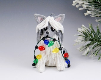 Chinese Crested Ornament Powderpuff Christmas Lights Porcelain Clearance